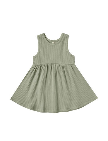 Ribbed Tank Dress - Moss