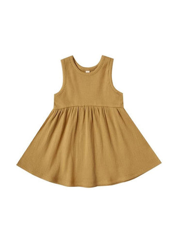 Ribbed Tank Dress - Ocre