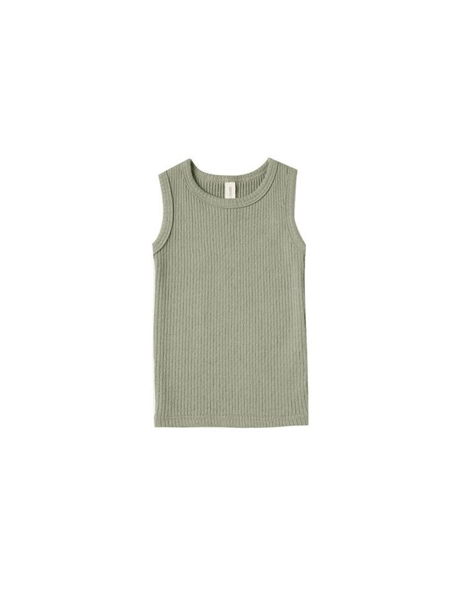 Quincy Mae Ribbed Tank - Moss