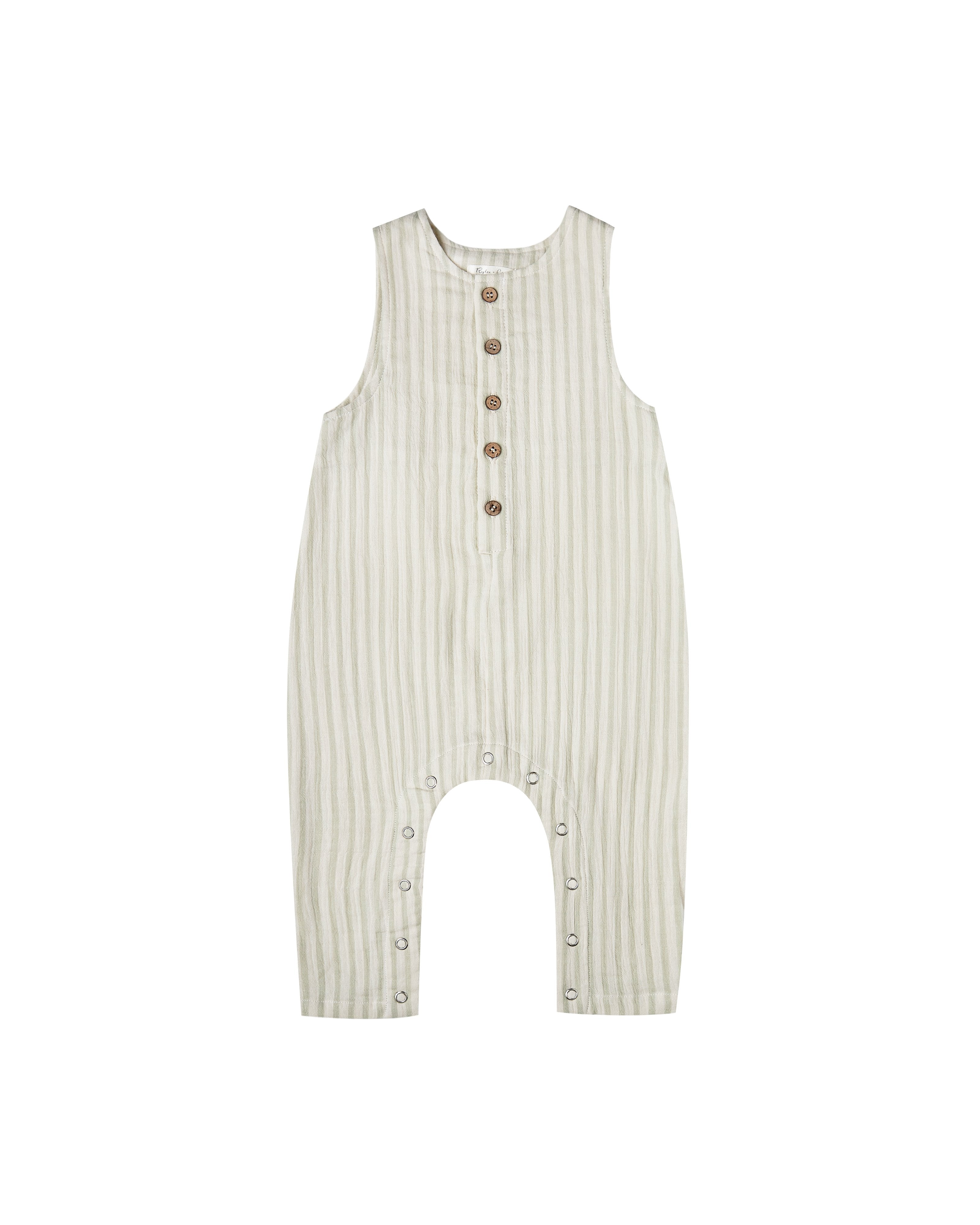 Load image into Gallery viewer, The Rylee & Cru Girls Striped Button Jumpsuit Sage Ivory