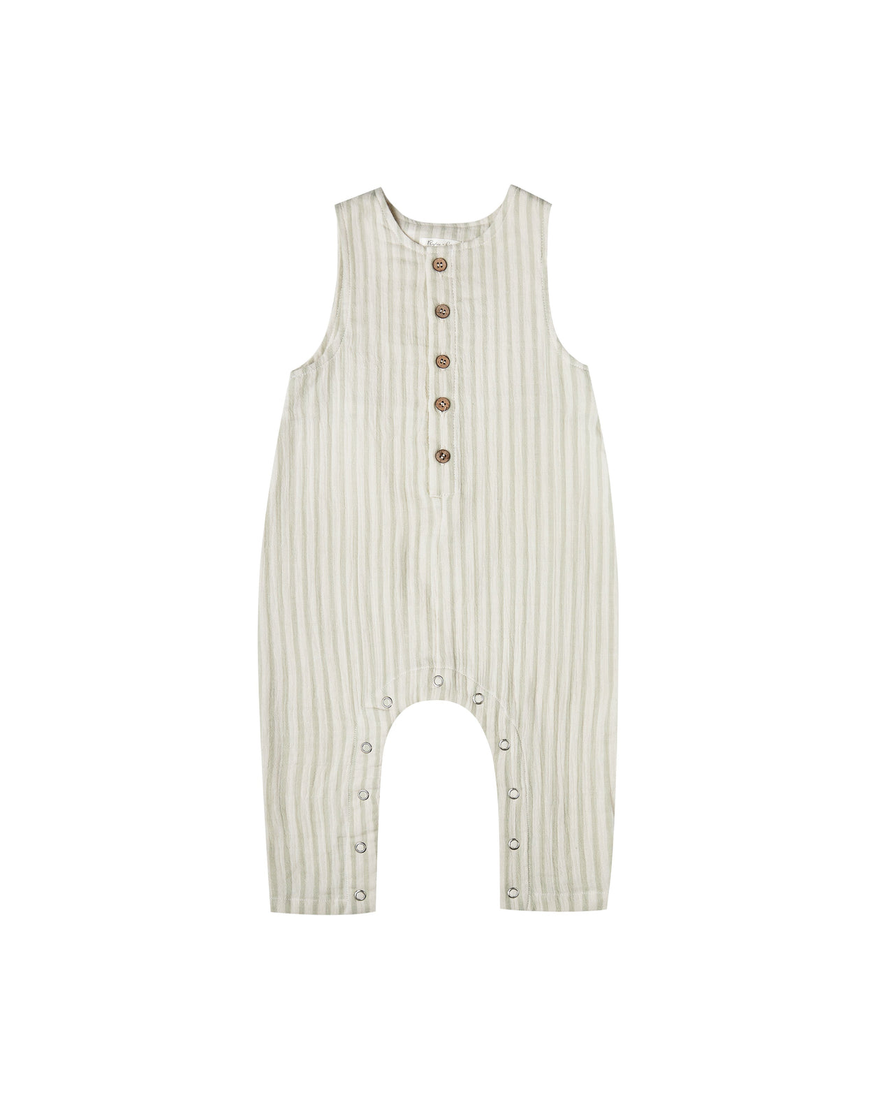 The Rylee & Cru Girls Striped Button Jumpsuit Sage Ivory