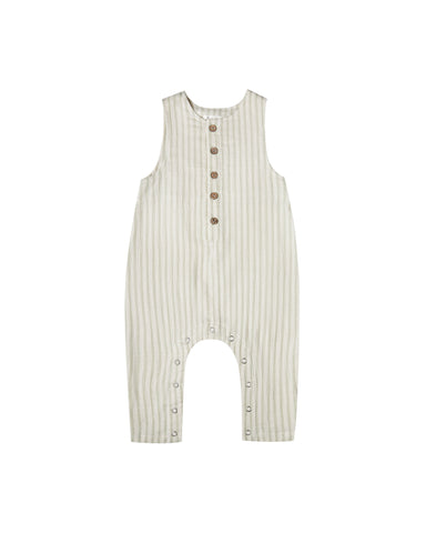 Girls Striped Button Jumpsuit Sage Ivory