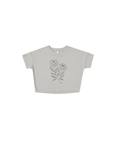 The Rylee & Cru Girls Peony Boxy Tee Blue Fog