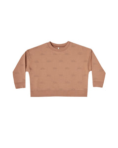 The Rylee & Cru Sunrise Boxy Pullover Terracotta