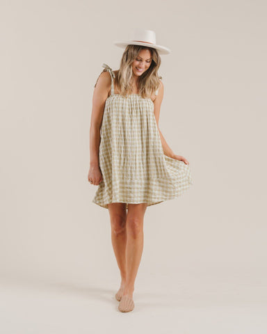 Gingham Shoulder Tie Dress Butter