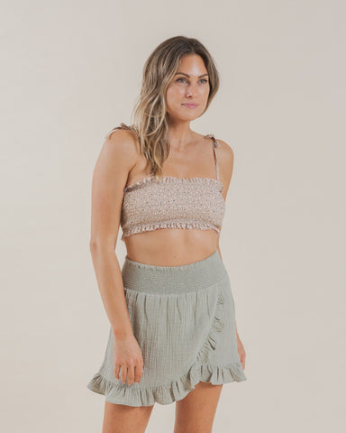 Wrap Ruffle Skirt Sage