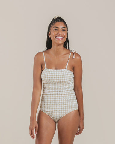 Gingham Smocked Onepiece Swimsuit Butter