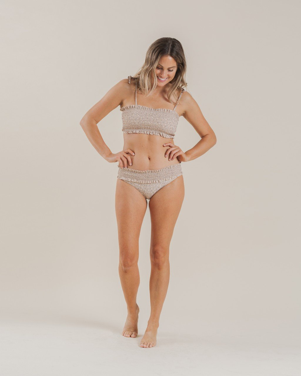 Load image into Gallery viewer, Rylee & Cru Dotty Smocked Bikini Bottom Almond