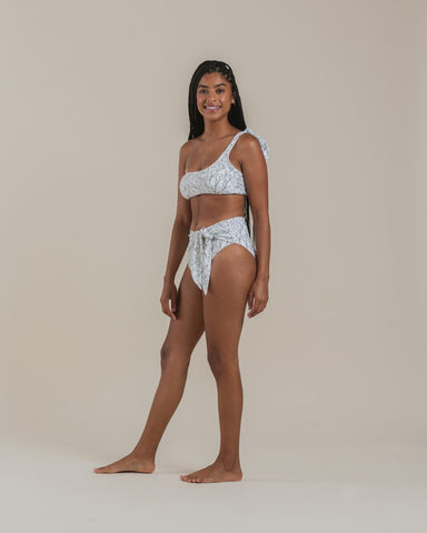 Fern High Waisted Tie Bikini Bottom Ivory