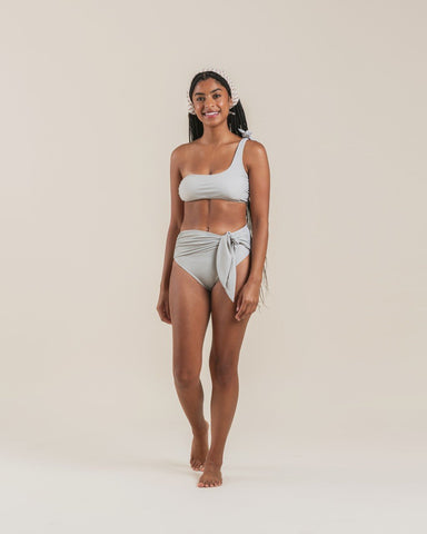 High Waisted Tie Bikini Bottom Sage