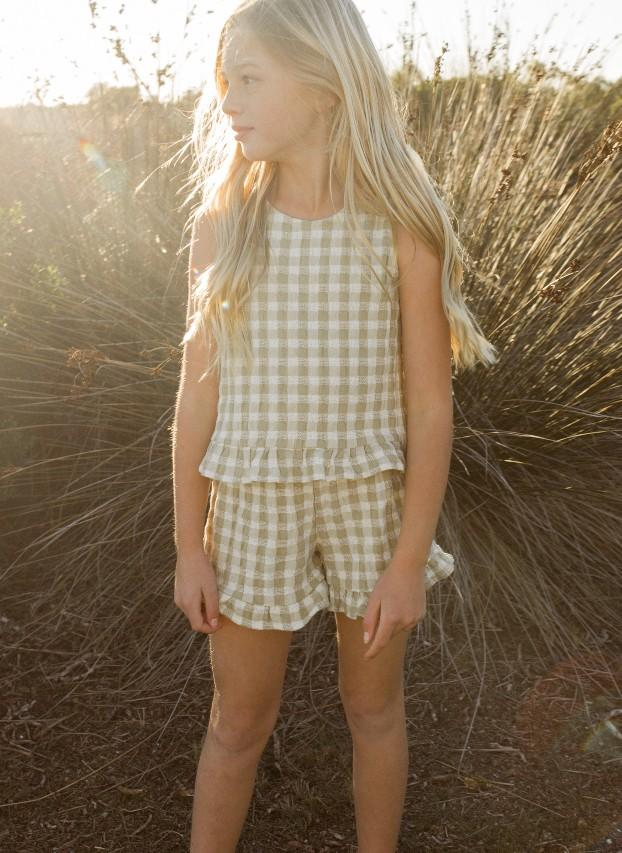 Load image into Gallery viewer, Rylee & Cru Gingham Leonie Top Butter