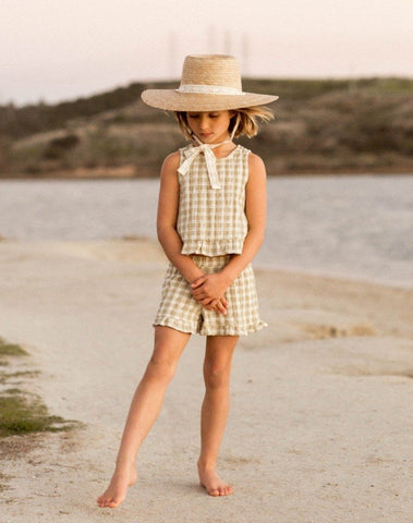 Girls Gingham Ruffle Short Butter