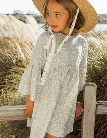 Girls Sage Garden Bell Dress Sage