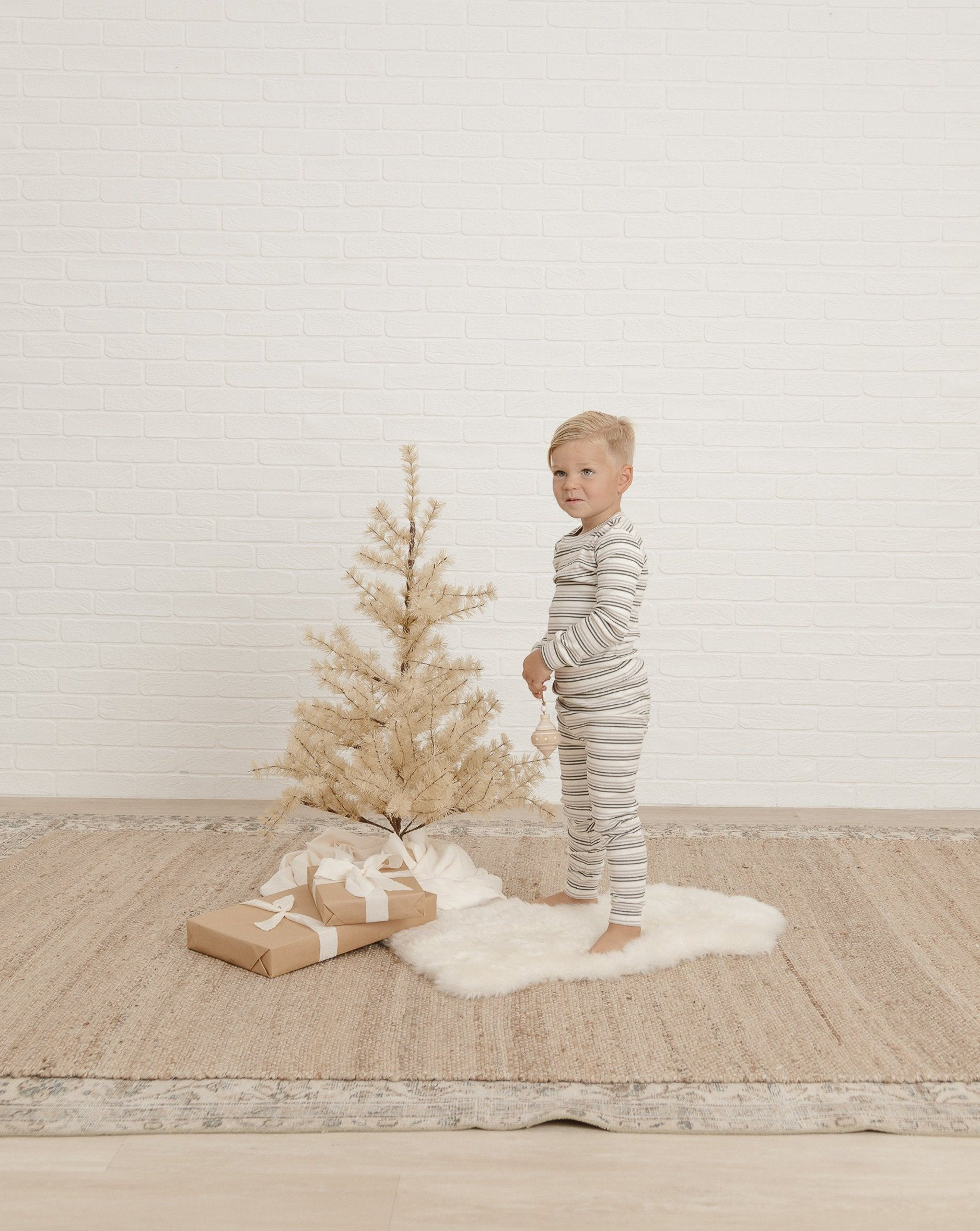 Load image into Gallery viewer, Rylee & Cru striped pajama set forest warm grey