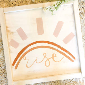 Terracotta Rainbow Sun Wall Art | Wooden Wall Art for Nursery