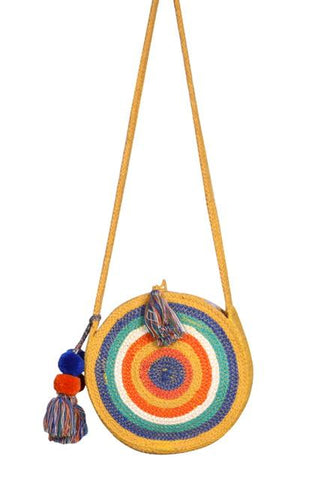 Rainbow Stripe Crossbody Round Bag