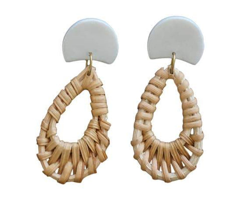 Rattan + Clay | Half Moon Teardrop Dangles: Pearl with Rattan