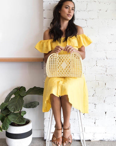 Retro Basket - Large Yellow