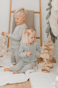 Rylee + Cru Ribbed Pajamas Long John - Spruce Stripe