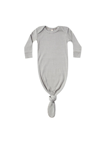 Ribbed Knotted Baby Gown Eucalyptus Stripe