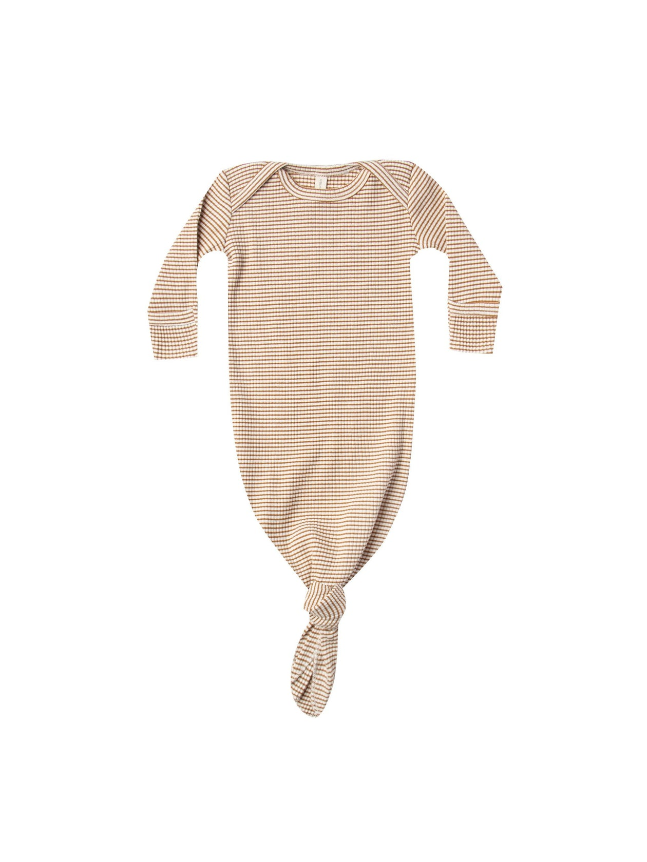 Quincy Mae Ribbed Knotted Baby Gown Walnut Stripe