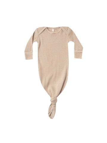 Ribbed Knotted Baby Gown Walnut Stripe