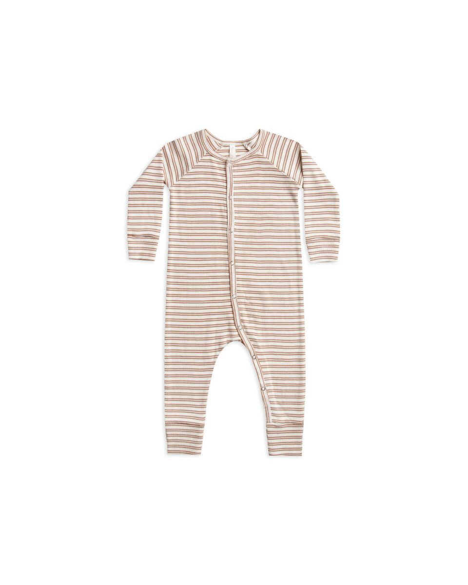 Ribbed Pajamas Long John - Truffle Stripe