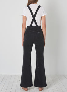Rolla's Eastcoast Flare Overall Black Cord | Womens Fashion