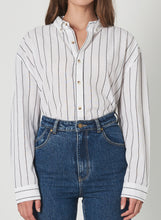 Load image into Gallery viewer, Rolla's Slouch Stripe Shirt White & Charcoal | Apparel for Women