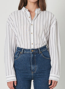 Rolla's Slouch Stripe Shirt White & Charcoal | Apparel for Women