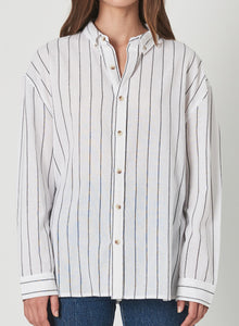 Rolla's Slouch Stripe Shirt White & Charcoal | FAll 2019