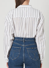 Load image into Gallery viewer, Rolla's Slouch Stripe Shirt White & Charcoal | Button Down Womens