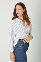 Load image into Gallery viewer, Rolla's Slouch Stripe Shirt White & Charcoal | Tops