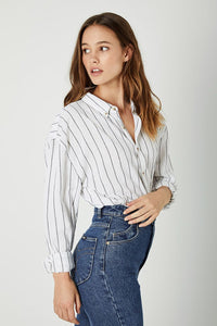Rolla's Slouch Stripe Shirt White & Charcoal | Tops