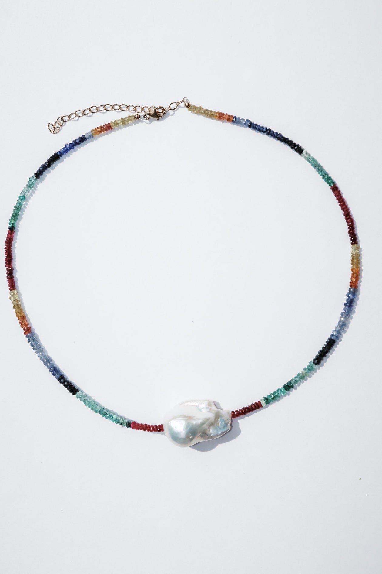 Bohemian Mama The Label Ruby, Emerald and Sapphire Baroque Pearl Choker