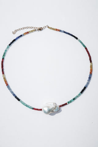 Ruby, Emerald and Sapphire Baroque Pearl Choker