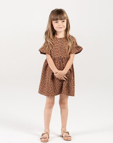 Rylee + Cru Cheetah Babydoll Dress in Bronze | Little Girls Leopard Dresses