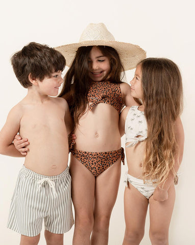 Rylee + Cru Cheetah Daisy Knotted Bikini | Little Girls Bikini Sets