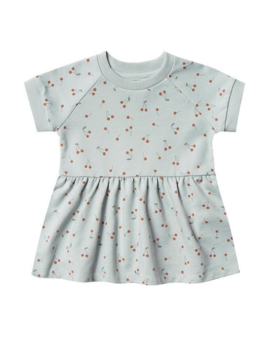 Cherries Raglan Dress - Sky