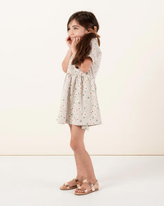 Dotty Flowers Raglan Dress - Dove | Little Girls Raglan Dresses