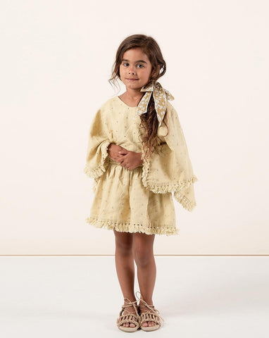 Rylee + Cru Eyelet Beach Kaftan Citron | Little Girls  Yellow Kaftans