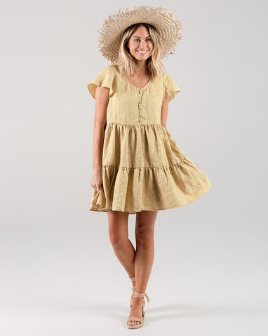 Eyelet Dolly Dress  - Citron