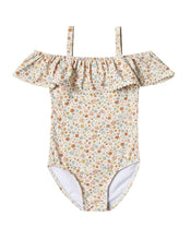 Load image into Gallery viewer, Rylee + Cru Flower Field Off The Shoulder Onepiece | Little Girls Floral Prints Swimsuits