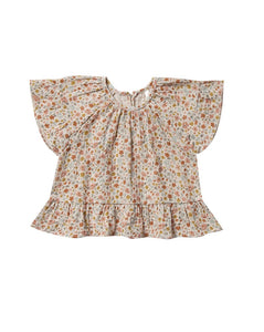 Rylee+Cru Flower Field Butterfly Top Natural | Little Girls Floral Print Tops