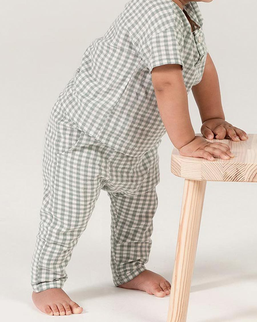 Load image into Gallery viewer, Rylee + Cru Gingham Hawthorn Trouser | Newborn Checkered Trousers