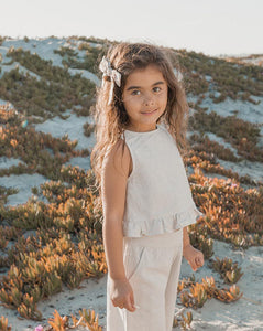 Rylee + Cru Oceanside Ruffle Top Silver | Girls Silver Crepe Tank Top
