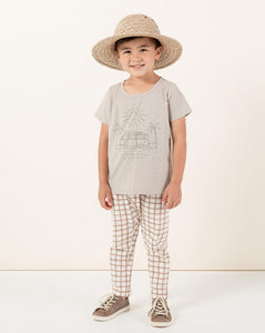 Rylee + Cru Grid Slub Pant Bronze | Little Boy Slub Pants