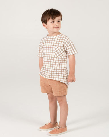 Rylee + Cru Grid Raw Edge Tee - Bronze | Little Boys Tees