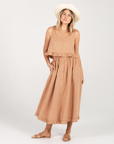 Rylee + Cru Oceanside Skirt Bronze | Women's Linen Maxi Skirt