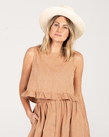 Rylee + Cru Oceanside Top Bronze | Women's Linen Tops